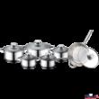 Rozsdamentes edénykészlet serpenyővel 12 részes (2x2.1liter-2.9liter-3.9liter-6.5liter-serp:3.4liter)