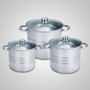 Royalty Line üvegfedős fazékkészlet 6 darabos ( 8 - 10 - 12.5 literes )
