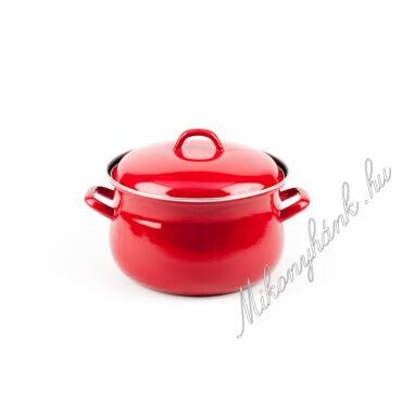 Piros öblös teflon edény fedővel 18 cm