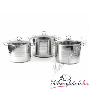 Tidal üvegfedős fazék készlet 10,6 - 13 - 15,5 liter