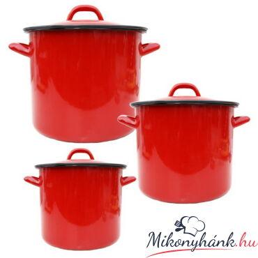 Piros zománcozott fazék 8 Liter