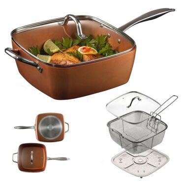 Happy Cooking Copper Steel Pro szögletes serpenyő-pároló-sütőtál
