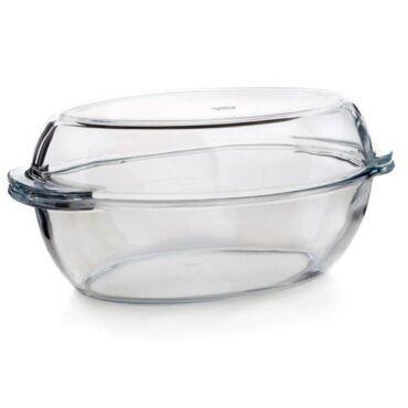 Üveg sütőtál+fedő 3.7 liter