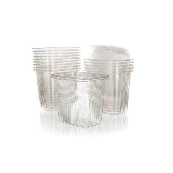 Műanyag tál fedővel 15db (500ml)