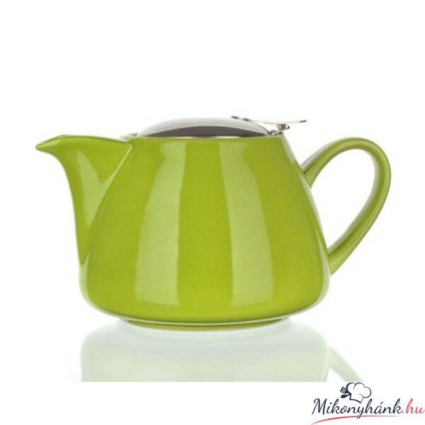 Zöld kerámia teáskanna szűrővel 1.2liter