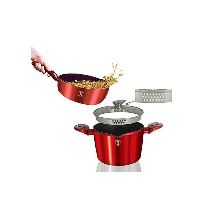 Burgundy metál tésztaszűrős edénykészlet 3 részes