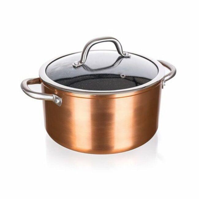Copper edény üveg fedővel 5,5 liter