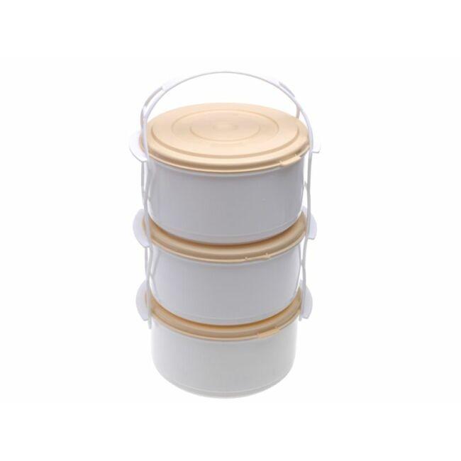 Műanyag ételhordó 3 részes (2.7liter)