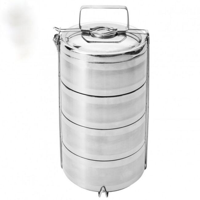 Rozsdamentes dupla-falú ételhordó 4részes ( 1.7 liter)