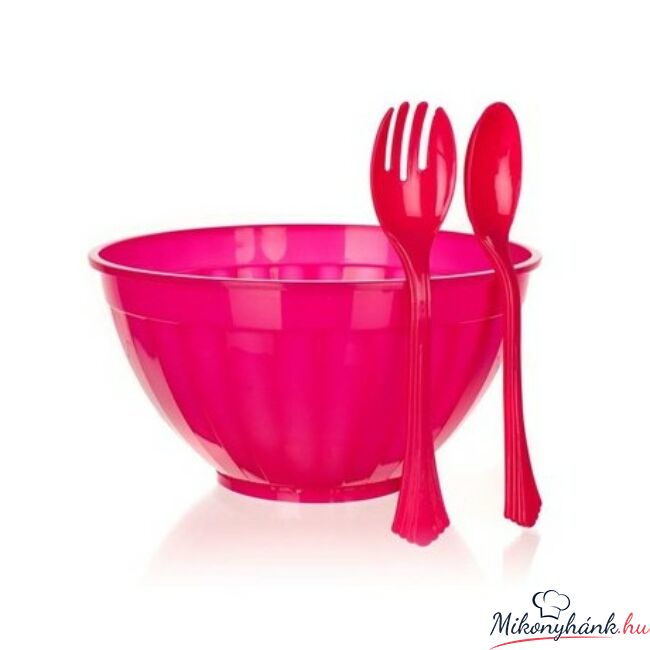 Salátás szett - tál 5,5l+műanyag evőeszköz